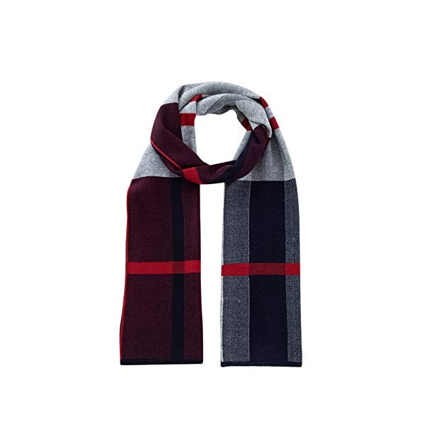 Lallier Men's 100% Merino Wool Scarf, Long Winter Neckwear with Gift Box