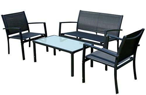 Sitzgruppe Gartengarnitur Gartenset Gartenlounge CASAYA Lounge besteht aus einem Tisch, Zwei Stühlen und Einer Sitzbank von AS-S, Farbe:Schwarz