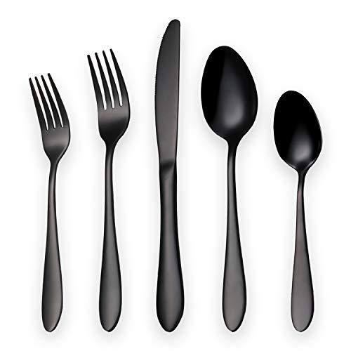 Amazon Brand Titanium Black Plated Stainless Steel Flatware Set 20 Piece, Black Flatware Set, Black Silverware Set Service for 4 (Shiny Black)