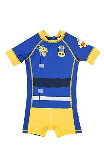 Feuerwehrmann-Sam Schwimmanzug Swimsuit Badeanzug für Jungen mit UV-Schutz 50+, Größe:110 (5 A)