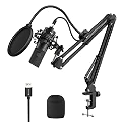 【USB Plug and Play Connection】Enables simple setup. USB condenser microphone set is convenient plug-and-play solutions to meet your various needs. Works automatically with your Mac or Windows computer - no drivers required. Provides a simple and effi...
