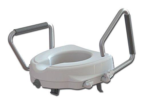 Rialzo WC, 12,5 cm, alzawater anatomico con sistema di fissaggio e braccioli reclinabili, portata 130kg