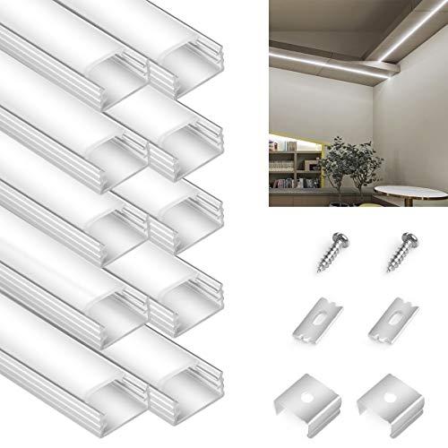LED Aluminium Profil 10 x 90cm - Aluprofil für LED Stripes/Streifen, LED Abdeckung für Perfektes Licht - LED Alu Profile inkl Abdeckungen in milchig-weiß, Endkappen, und Montagematerial