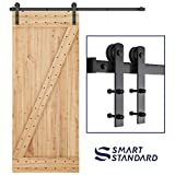 SMARTSTANDARD 6ft Heavy Duty Sturdy Sliding Barn Door Hardware Kit -Smoothly and Quietly -Easy to Install -Includes Step-by-Step Installation Instruction Fit 36' Wide Door Panel (I Shape Hanger)