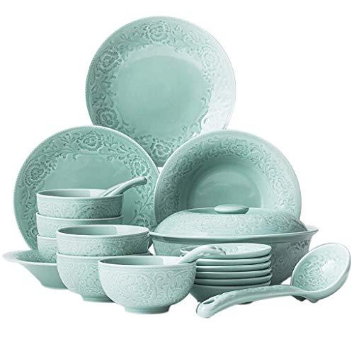 YGB De vajilla, vajilla de cerámica con Plato de Cena, 24 Piezas de vajilla de Porcelana Tallada Celadon  Cuenco de Cereales, Olla y Plato de Sopa para Regalos de Boda y Familia Ga