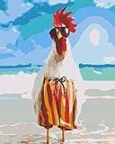YUHHGFK Pintar por Numeros Gallo Animal de Playa Pintura al óleo de Bricolaje con Pinceles y Pinturas - para Adultos, niños y Principiantes Decoración del hogar - 40 X 50 cm (Sin Marco)