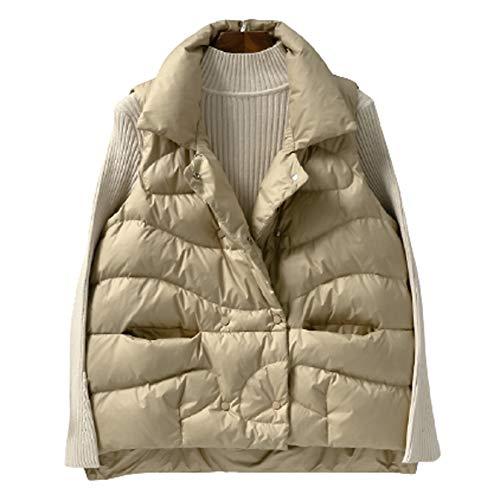 GL SUIT - Chaleco de plumón para invierno, acolchado para el cuerpo, con cuello de capullo, sin mangas, chaqueta a prueba de viento, para caminar y viajar, color caqui, XL