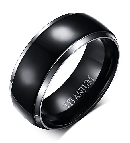 VNOX 8mm Pure Black Simple Titanium Band Ring Wedding Engagement Promise Band Ring for Men Women,Christmas/Birthday