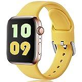 Ouwegaga Compatible con Apple Watch Correa 38mm 42mm 40mm 44mm, Correa de Reemplazo Deportiva de Silicona Suave Compatible con Apple Watch SE/iWatch Series 6/5/4/3/2/1, 42mm/44mm S/M Claro Amarillo