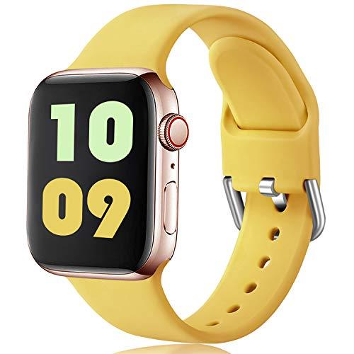 Ouwegaga Compatible con Apple Watch Correa 38mm 40mm 41mm 42mm 44mm 45mm, Correa de Deportiva Silicona Suave Compatible con iWatch Series 7/6/5/4/3/2/1/SE, 42mm/44mm/45mm S/M Claro Amarillo
