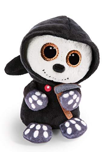NICI 47549 Original – Glubschis Halloween Sanito 25 cm-Kuscheltier Sensenmann mit großen Augen-Flauschiges Plüschtier mit Glitzeraugen, schwarz/weiß