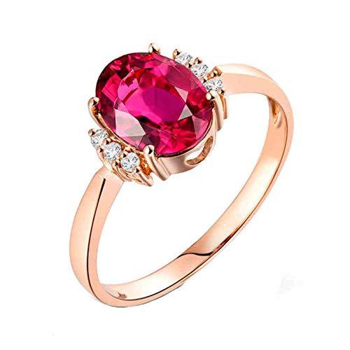 AnazoZ Anillo Turmalina Mujer,Anillos de Boda de Oro Rosa de 18 Kilates Oro Rosa y Rosa Roja Oval Turmalina Rosa Roja 1.2ct Diamante 0.05ct Talla 22