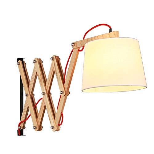 XZHBD Wandlampe Aus Holz Mit Ziehharmonika-Arm, Scherenwandleuchte Im Design, Innen Für Schlafzimmer, Wohnzimmer Usw, Leselampe Scherenlampe Mit Textilschirm, Ohne Glühbirne