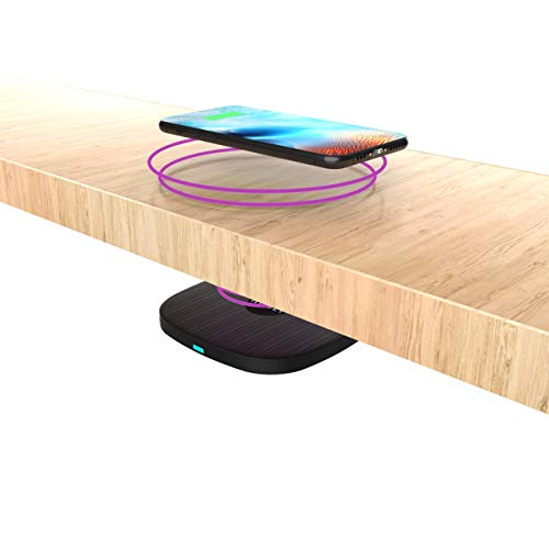 Hudly Invisible Wireless Charger - Turn Any Desk or Table into a Wireless Charging Station - 10W Max Qi-Certified Wireless Charging
