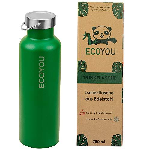 EcoYou® Trinkflasche Edelstahl 750 ml Grün doppelwandig für Heiß- und Kaltgetränke, Wasserflasche Isolierflasche Thermoflasche, Sport - und Outdoor Flasche