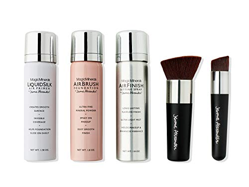 MagicMinerals Deluxe AirBrush Foundation by Jerome Alexander – 5pc Spray Makeup Set with Anti-aging Ingredients for Smooth Radiant Skin (Fair)