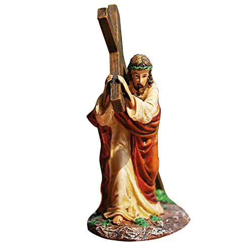 Grust Christelijk beeld, veilig hars kruishuis kerk ornament duurzaam met de hand geschilderde religieuze decoraties, kerststal ornament voor religieuze woondecoraties, 11x5x12 cm