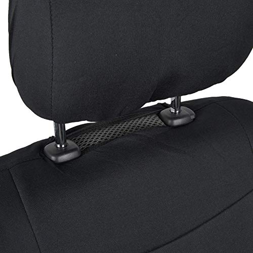 BDK PolyPro Car Seat Covers, Full Set in Solid Black – Front and Rear Split Bench Protection, Easy to Install, Universal Fit for Auto Truck Van SUV