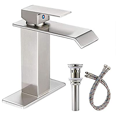 Greenspring Waterfall Commercial Spout Brushed Nickel Single Handle One Hole Bathroom Sink Faucet Deck Mount Lavatory