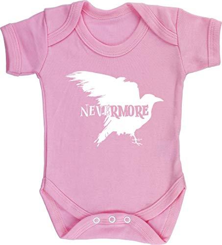 Hippowarehouse Nevermore Raven Baby Vest Bodysuit Short Sleeve Boys Girls Light Pink