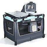 DREAMADE 4 in 1 kalppbares Kinderreisebett mit Wickelauflage & Wiege, Tragbares Babybeistellbett mit Matratze, Laufstall, inkl. Spielzeug, für Babys und Kinder ab Geburt bis 15 kg (Grün)