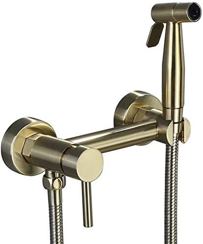 BESTPRVA Bidé pulverizador Conjunto Oro cepillado latón Conjunto bidé caliente y sistema de agua fría WC Pistola de pulverización mezclador de la mano de la válvula de enjuague de boquillas Establecer