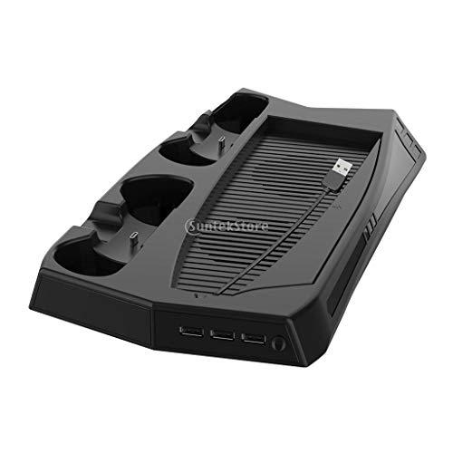H HILABEE Vertikaler Ständer mit Kühlregal Game Rack Speicher für PS5 Digital Edition Und Ultra HD Spiel Console Controller Ladestation, Ladeanzeige