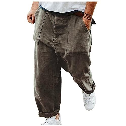 MARIJEE Pantalones deportivos de gimnasio para hombre, sueltos estilo retro de la calle, color liso, pantalones de talla grande, pantalones casuales para correr, entrenamiento (gris, XXL)