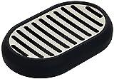 Amazon Basics Stainless Steel Soap Dish Holder, for Shower/Sink/Bathroom, Black