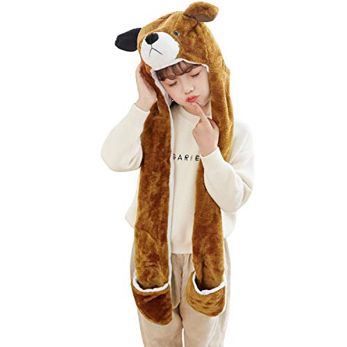 PULAMA Winter Animal Hat Set Cap 3-17yr Kids Cosplay Party Costume Toy -BrownDog