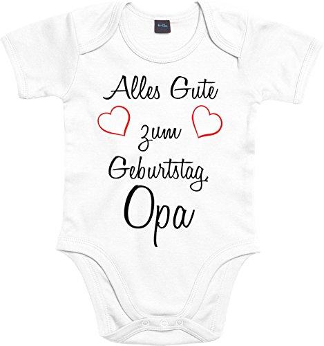 Mister Merchandise Baby Body Alles gute zum Geburtstag, Opa Strampler liebevoll bedruckt Glückwunsch Weiß, 0-3