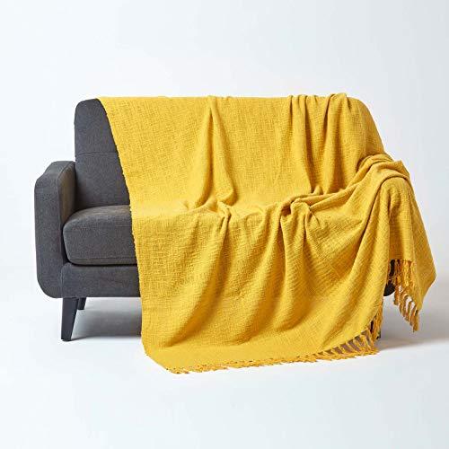 Homescapes große Tagesdecke Nirvana, gelb, Wohndecke/Sofaüberwurf aus 100% Baumwolle, 225 x 255 cm, Knoten-Optik mit Fransen