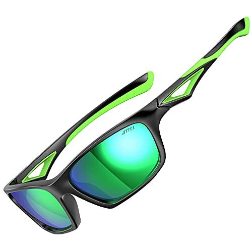 ATTCL Occhiali da sole sportivi polarizzati bambini Occhiali da sole anti UV400 per bambini e bambine dai 3 ai 10 anni JDRW001 black+Green