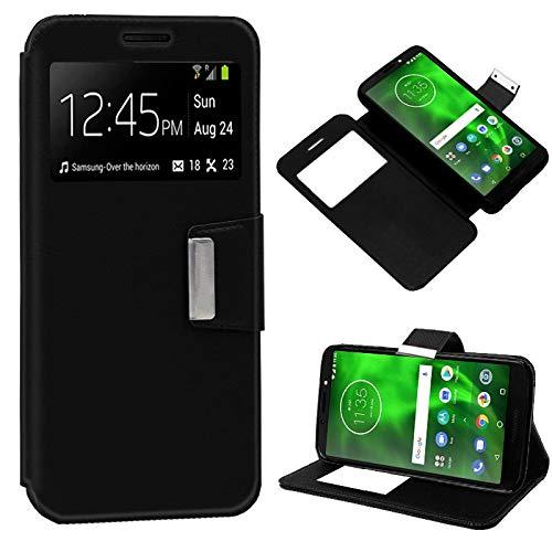 iGlobalmarket Motorola Moto G6 Play/Moto E5, Funda con Tapa, Apertura Lateral Tipo Libro, Cuero PU, Color Negro