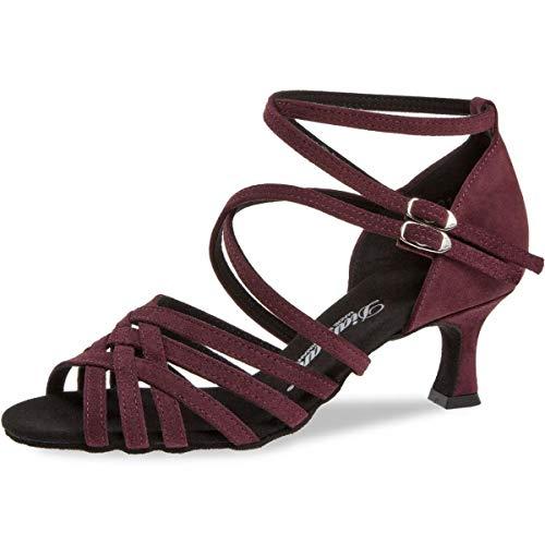 Diamant Zapatos de baile para mujer 108-077-132, piel de ante burdeos, 5...