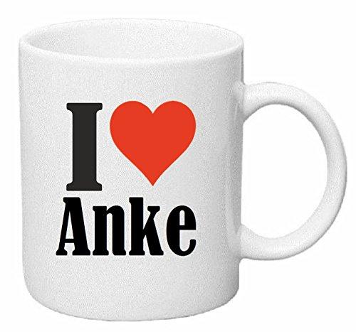 Reifen-Markt Kaffeetasse I Love Anke Keramik Höhe 9,5cm ? 8cm in Weiß