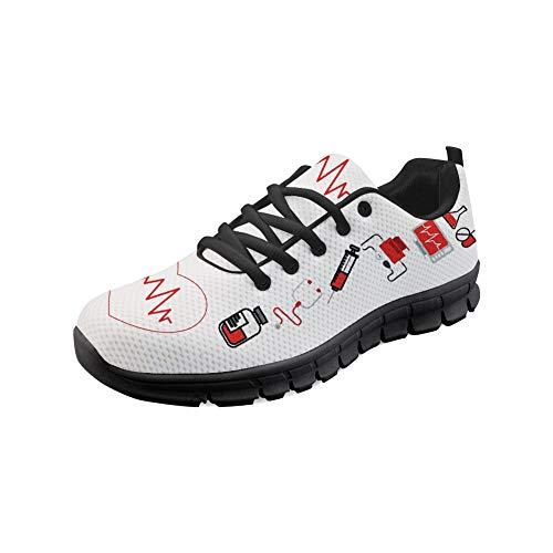 HUGS IDEA Still-Turnschuhe für Damen Atmungsaktives Mesh Tennis Athletic Fashion Schuh Sport Walking Laufschuhe - Größe: EU 38.5