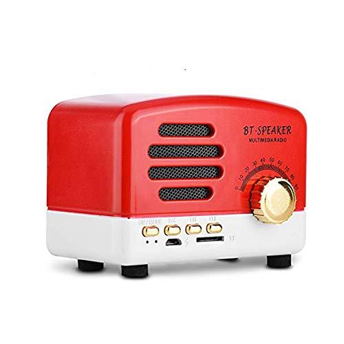 Kafuty Altavoz Bluetooth Portátil Retro de Escritorio Radio FM Altavoz Inalámbrico Bluetooth con Rueda de Afinación Bajo Estéreo Micrófono Soporte USB Tarjeta TF para Fiesta Familia u Oficina(Rojo)