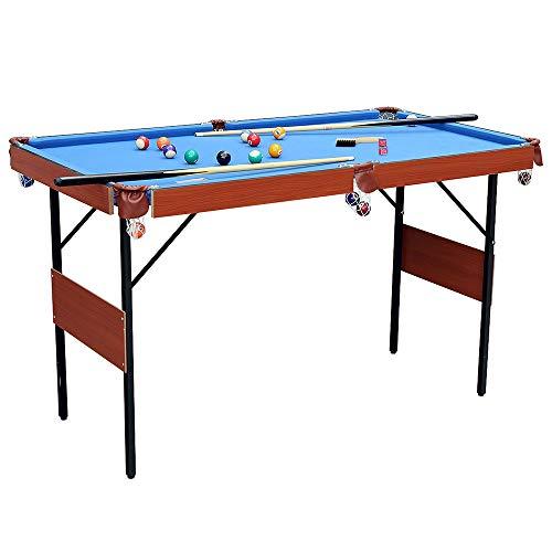 homelikesport Zusammenklappbar Billardtisch, Pooltisch, Spieltisch mit 2 Queues, Kugelset, Dreieck, ca. 140 x 74x 80 cm