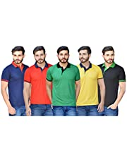 RV Creations Men's Regular Fit Polos (Pack of 5)