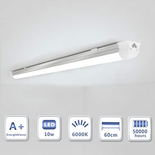 OUBO 60cm LED Leuchtstoffröhre komplett Set mit Fassung kaltweiss 6000K 10W 1300lm Lichtleiste Unterbauleuchte Küchenlampe Schrankleuchte Deckenleuchte led strip milchige Abdeckung