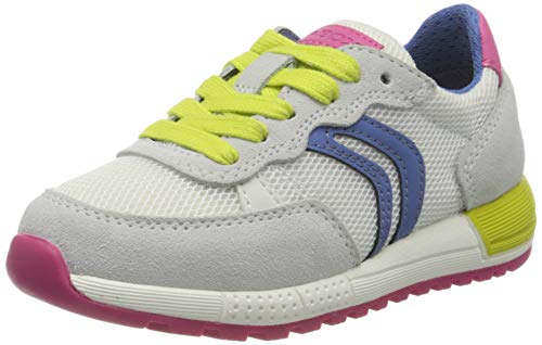 Geox J ALBEN Girl B, Zapatillas de Deporte Niños, Blanco (White/Multicolor C0653), 28 EU