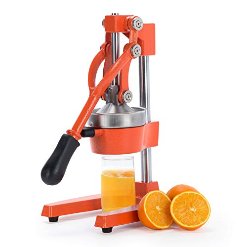 CO-Z Commercial Grade Citrus Juicer Professional Hand Press Manual Fruit Juicer Orange Juice Squeezer for Lemon Lime Pomegranate (Orange Cast Iron/Stainless Steel)
