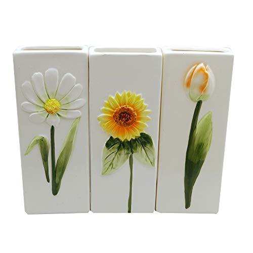Curalit 3er Set Luftbefeuchter Wasserverdunster für alle gängigen Heizkörper Heizungen mit verschiedenen Blumenmotiven