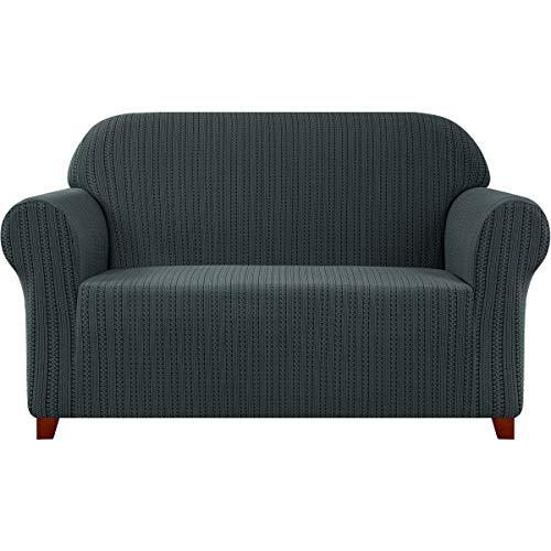 Subrtex Sofabezug Stretch Gestreifter Jacquard Sofahusse Couchbezug Sesselbezug Elastischer Blumenmuster Stretchhusse Weich Stoff (2 Sitzer, Grau)