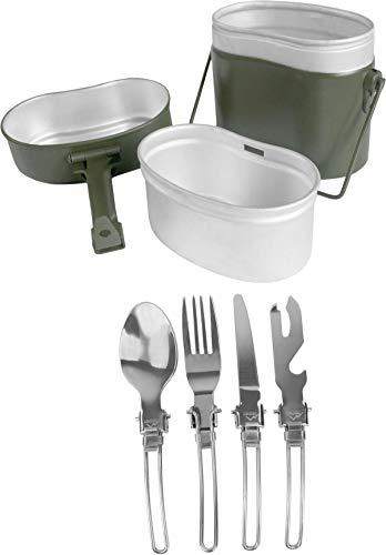 normani Outdoor Geschirr-Set inkl. BW Kochgeschirr und 5-teiligem Besteck - Rostfrei und feuerfest Farbe Oliv