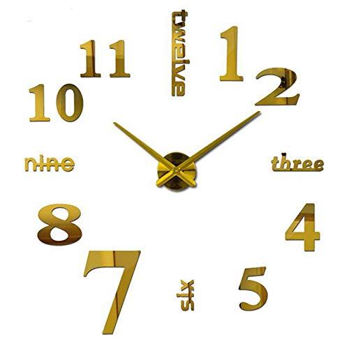Katigan Reloj de Pared Sin Marco 3D Mudo Moderno Gran Espejo Superficie DIY HabitacióN Decoraciones de Oficina en Casa (Oro)