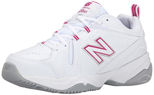 New Balance Women's 608 V4 Casual Comfort Cross Trainer, White/Pink, 8 B US