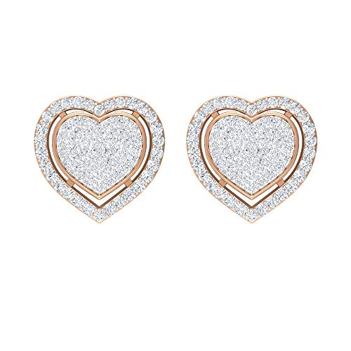 Pendientes de corazón de diamante de 3/4 quilates, pendientes de tuerca en forma de corazón, pendientes de ilusión de oro, con rosca