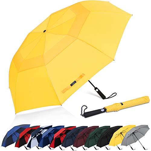 G4Free 62 Inch Paraguas de Golf Portátil Abierto Automático Paraguas de Viaje Compacto A Prueba de Viento Paraguas Deportivos de Doble Techo Ventilados de Gran Tamaño